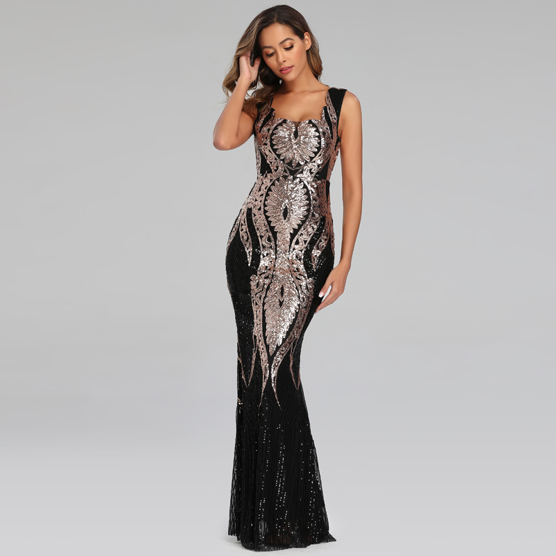YIDINGZS 2020 Double Shoulder Gold Sequins Evening Party Dress Sleeveless Formal Long Evening Dress