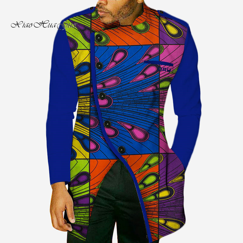 2019 New Fashion Autumn African Wax Print Long Sleeve Top Shirts for Men Bazin Riche Shirts Dashiki African Style Clothing WYN49