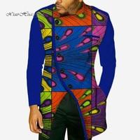2019 New Fashion Autumn African Wax Print Long Sleeve Top Shirts for Men Bazin Riche Shirts Dashiki African Style Clothing WYN49