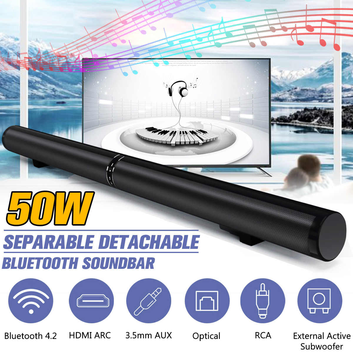50W 100 centimetri HiFi Staccabile Senza Fili di bluetooth Soundbar Altoparlante 3D Surround Stereo Subwoofer per la TV Sistema Home Theatre Audio bar