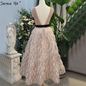 Image 2 - Różowy dekolt w serek Sexy Feathers Sashes suknie balowe 2020 bez rękawów A Line kostki formalna sukienka Serene Hill DLA70367