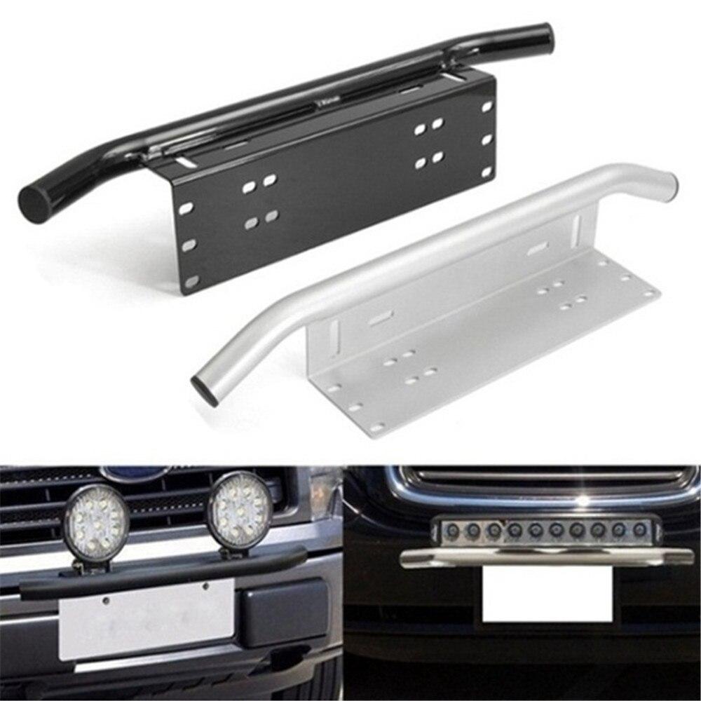 Support de montage de plaque d'immatriculation de pare-chocs avant de voiture en argent de 23 pouces support de Style de barre de taureau en Aluminium pour conduire le camion de Jeep de voiture de barre légère
