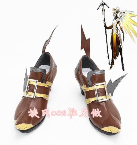 Cosplay Shoes Boots Mercy Witch Halloween Carnival-Free Custom-Made Brown for Ver. Hot-Game