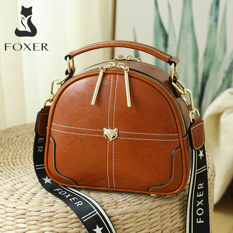 FOXER Retro Lady Split Leather Shoulder Bag Female Soft Cowhide Crossbody Bag for Women Small Luxury Messenger Bag with 2 Straps|Top-Handle Bags| - AliExpress