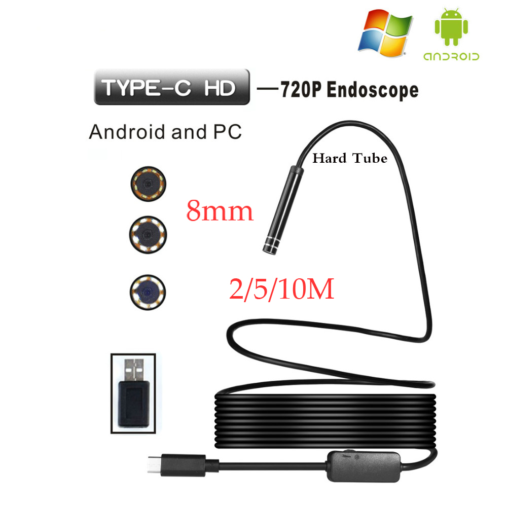 8mm Lens Android HD Endoscop Camera Type C USB Endoscopio Inspection Hard Tube Camera PC Android For Huawei Phones Borescope
