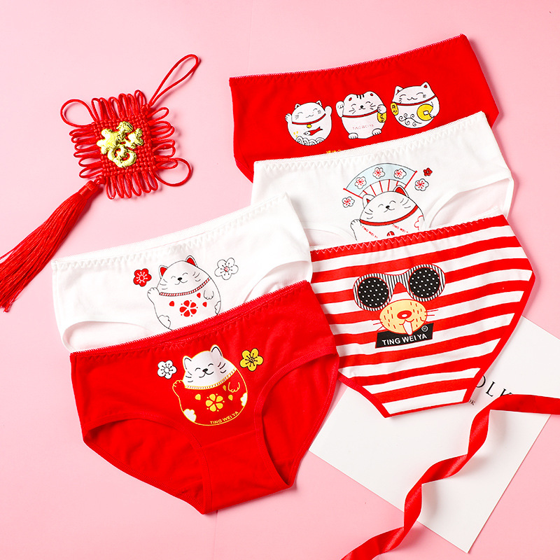 Women Underpants New Year Style China Red Cotton Underwear Female Casual Cat Pattern Panties Girl Briefs Ladies Sexy Lingerie