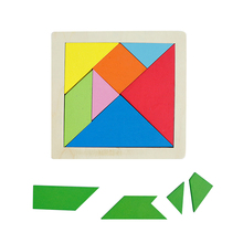 Mini Wooden Colorful Tangram Puzzle Game Children Early Educational Toys For Kids Free Shipping toy kitchen mothergarden kids wood playhouse toy gas burner set stove wooden puzzle game kitchen toys page 5
