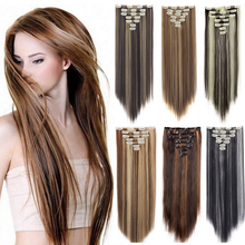 7Pcs Set 16 Clips 22 24 Inch Straight Wavy Curly Full Head Clip In on Double Weft Hair Extensions Solid Color Mixing Color