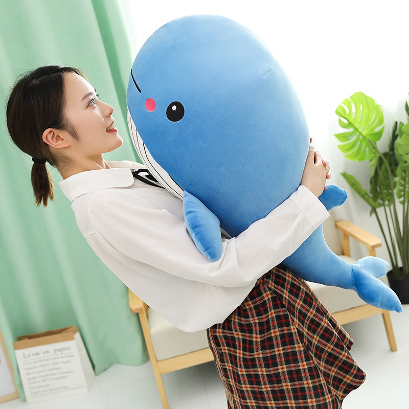 Loveyle Super Soft Whale Plush Toy Cartoon Animal Fish Stuffed Doll Baby Sleeping Pillow Cushion Kid Girlfriend Christmas Gift