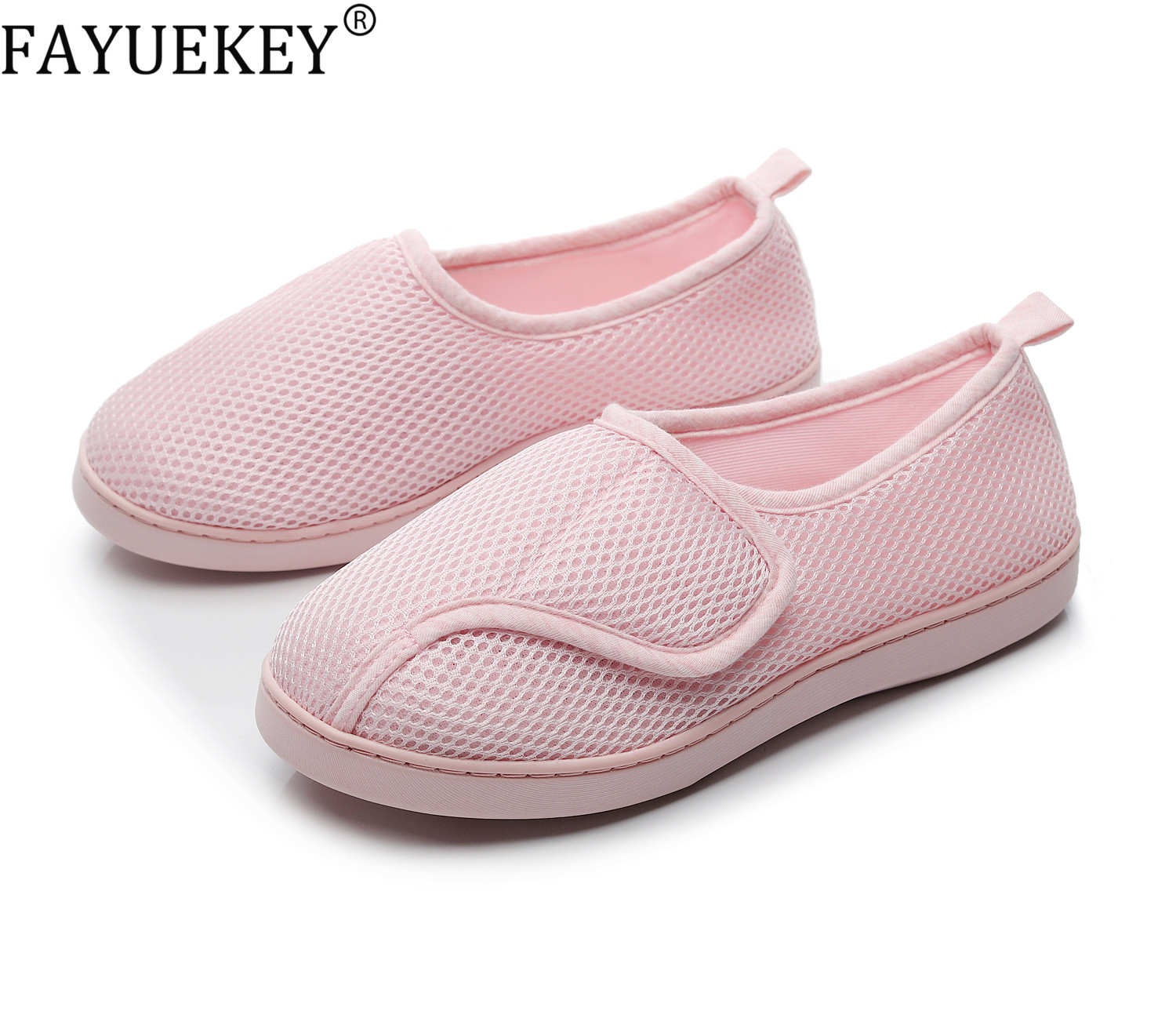 Women Shoes Home Soft Mesh Breathable Pregnant Slippers anti-slip Diabetic Arthritis Edema Slippers for Expectant Mom Extra Wide 1