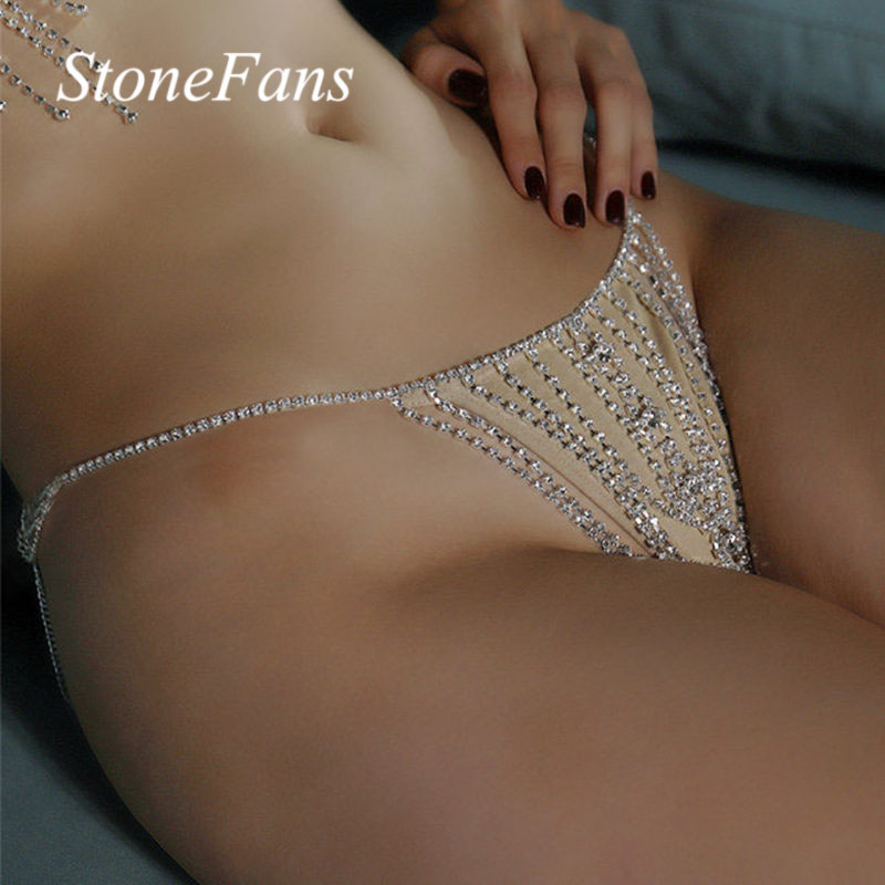 Underwear Panties Thong Sexy-Accessories Body-Jewelry Body-Chain Crystal Eyes-Shape Stonefans Rhinestone title=