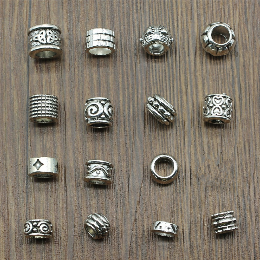 15pcs/Lot Spacer Beads Charms Antique Silver Color Big Hole Spacer Beads Charms Pendants For Bracelets Jewelry Making