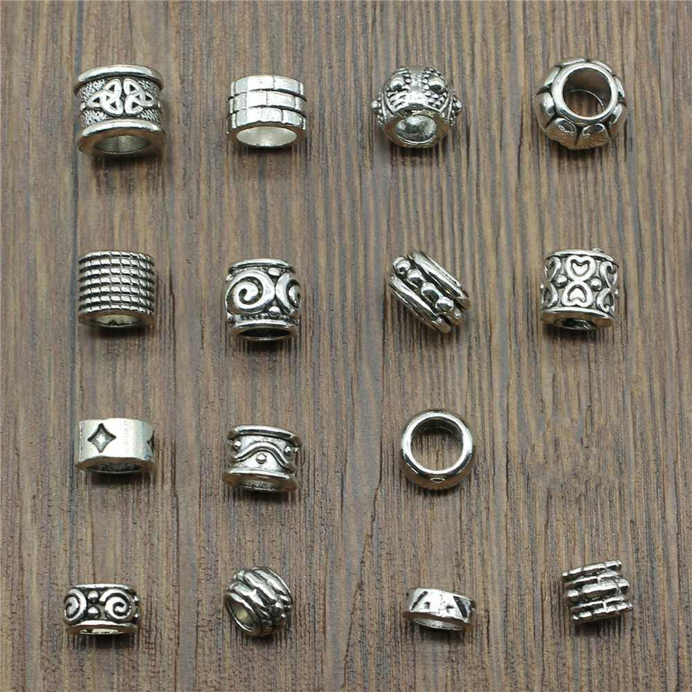 80Pcs Tibetan Alloy Skull Spacer Bead 8 Styles for Jewelry Making Antique Silver