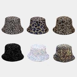 Leopard Hat Bucket Women Casual Bright Bucket Glitter Korean Fashion Autumn Winter Spring Bob Vintage Flatcap Retro Fishing Cap
