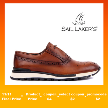 Sail Lakers-Tan Leather Lace-Up Men Casual Derby Shoes 2020 Brand New Men Shoes Classic Men Dress Shoes Leather Wedding Shoes Men Formal Flats Business Sneakers