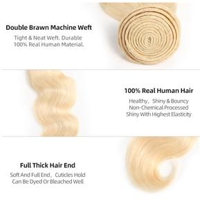 """Image 2 - Бразильские волнистые предварительно окрашенные человеческие волосы для наращивания блонд 613/#33/#30/#27/# 99J/# Бург 10 """" 26"""" Remy натуральные кудрявые пучки волос"""