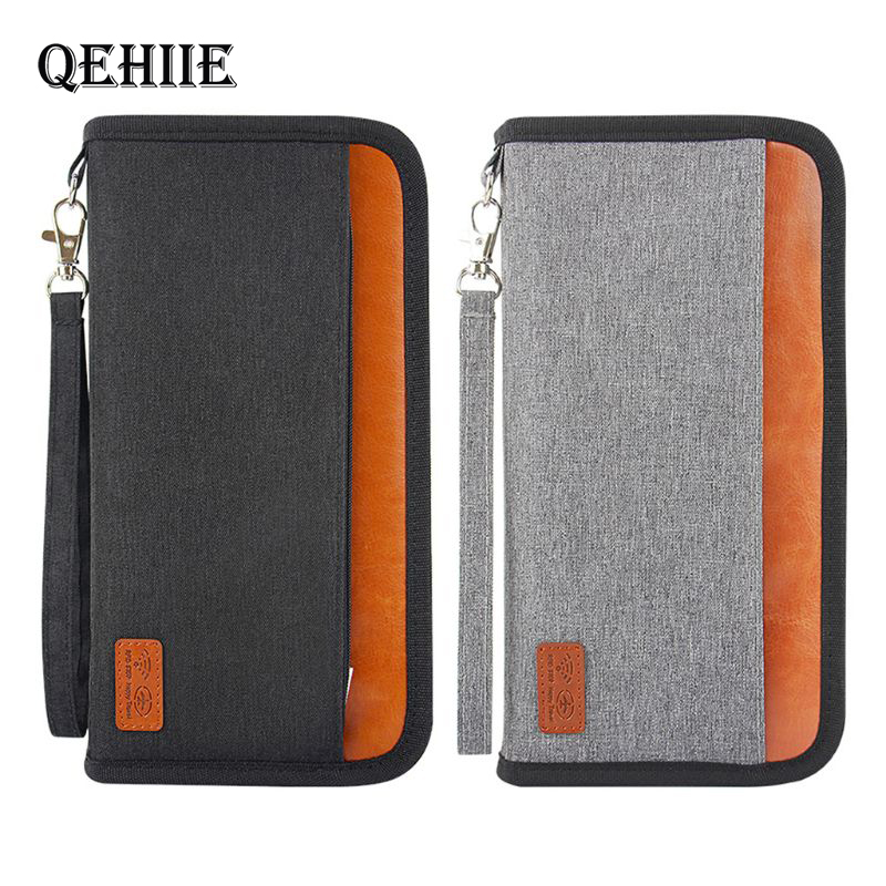 Business Travel Anti-RFID Passport Package Credit Card Package Passport Clip File Multi-card Organizer Bags Clutch Travel Wallet