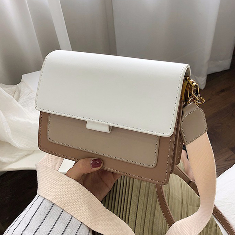 Contrast Color Leather Crossbody Bags For Women 2019 Travel Handbag Fashion Simple Shoulder Messenger Bag Ladies Cross Body Bag