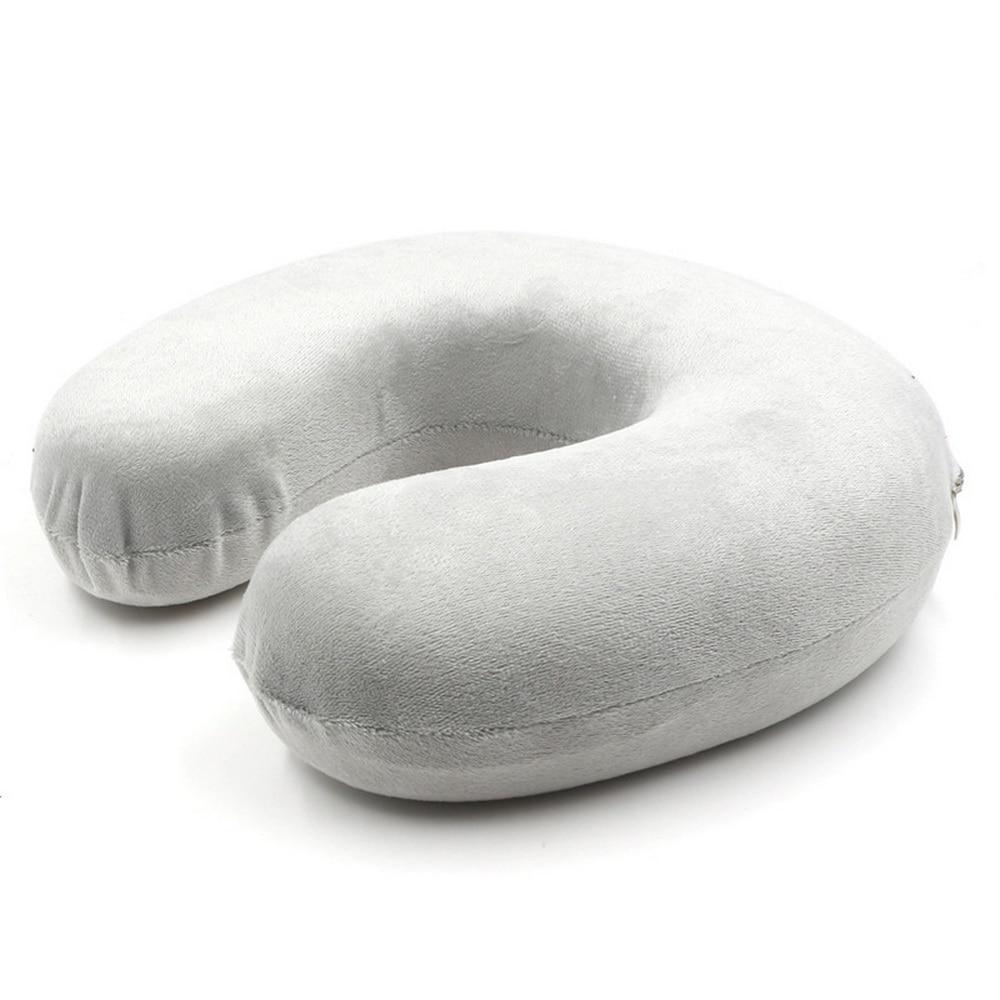 Подушка из пены с эффектом памяти, u-образные подушки для шеи, Ортопедическая подушка для самолета, поддержка шеи, аксессуары для путешествий, удобные подушки для сна - Цвет: lightGrey 28x28x8cm