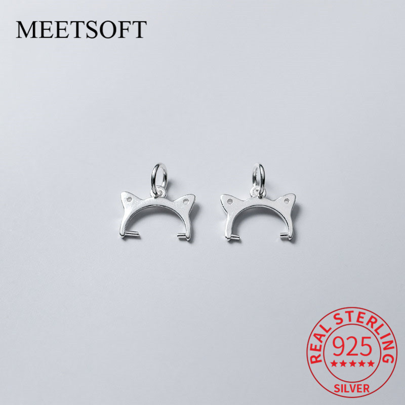 MEETSOFT 925 Sterling Silver Semi-finished Clip Bead Buckle Pendant Connector Clasp Fit 8.5mm Beads DIY Jewelry Accessory
