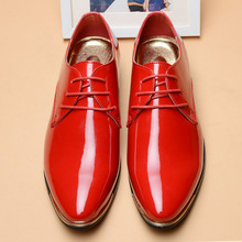 HAROGATH Luxury Brand British Men Formal Dress Shoes Patent Leather Solid Pointed Toe Derby Shoe Soft Lace-Up Mens Wedding Shoes стоимость