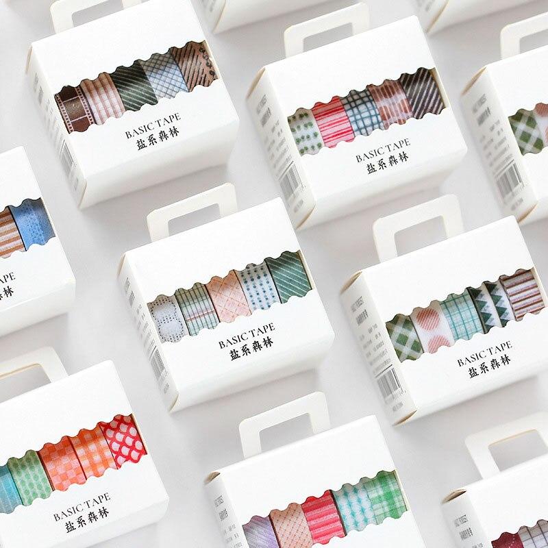 5Pcs/Set Grid Stripe Washi Tape Basic Pattern Decorative Tape Cute Masking Tape For Sticker Scrapbooking Diary Stationery Tape