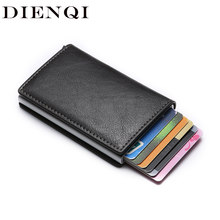 Custom Logo Anti Rfid anti-magnetic Card Holder Vintage Business Credit Cardholder Women Men pu Leather Wallet Money protection(China)