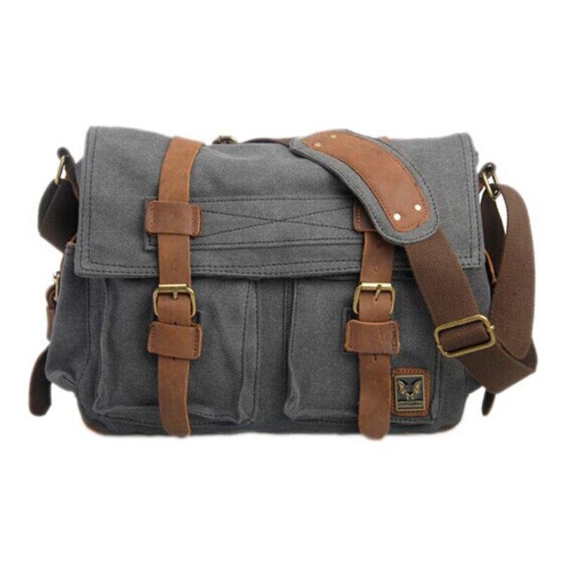 Men/'s Vintage Canvas Leather Messenger Shoulder Bag Military Crossbody Satchel