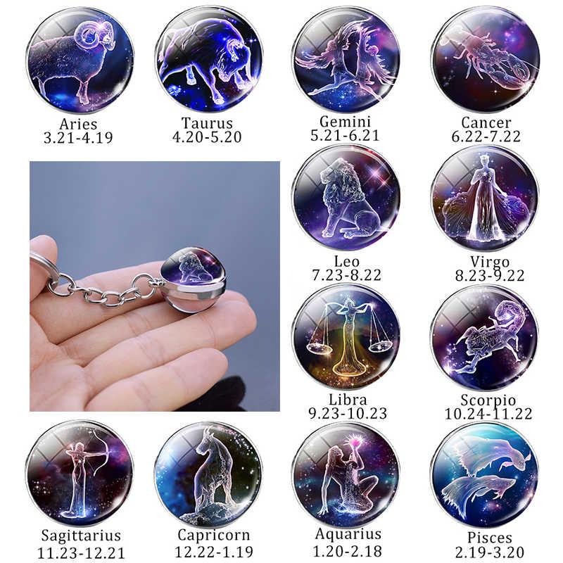 Leo Libra Scorpio 12 Constellation Keychain Glass Ball Pendant Zodiac Sign Keychain Car Key Rings Men Women Birthday Gifts