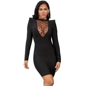 Image 2 - Deer Lady Sexy Black Bandage Dress 2019 New Arrival Long Sleeve Party Bandage Dress Mesh Patchwork Women Celebrity Bodycon Dress