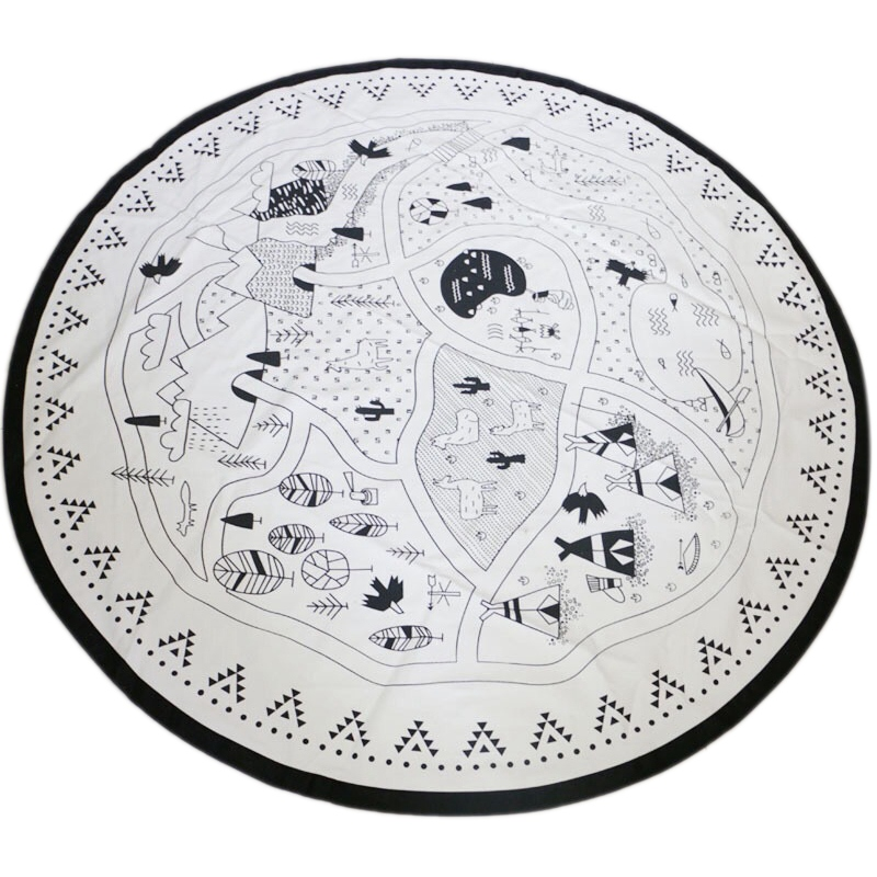 Baby Nursing Photo Props Blanket Floor Playmat Animal Round Carpet Children's Crawling Play Mat Mug Diameter 53 Inch Black & Whi