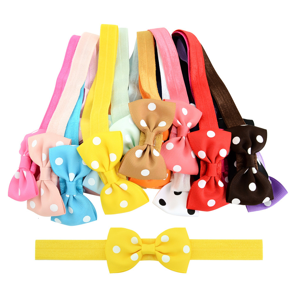 1 PCS Headwrap Girls Bow Knot Dot Hairband Head Band Infant Toddlers Gift Hair Clothes Accessories Baby Headbands Headwear