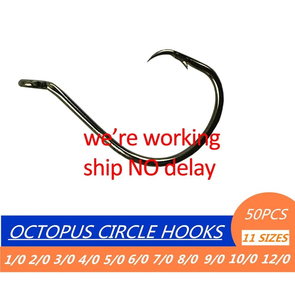 SPORT CIRCLE 100 OCTOPUS FISHING HOOKS SIZE #1//0 /& #2//0 BLACK NICKLE 50 EACH.