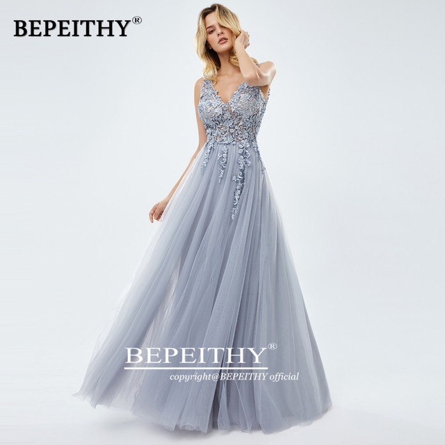 2020 A-linr Gray Long Dress Evening Dresses With Slit Robe De Mariee Elegant Lace Prom Party Gown платье вечернее 1