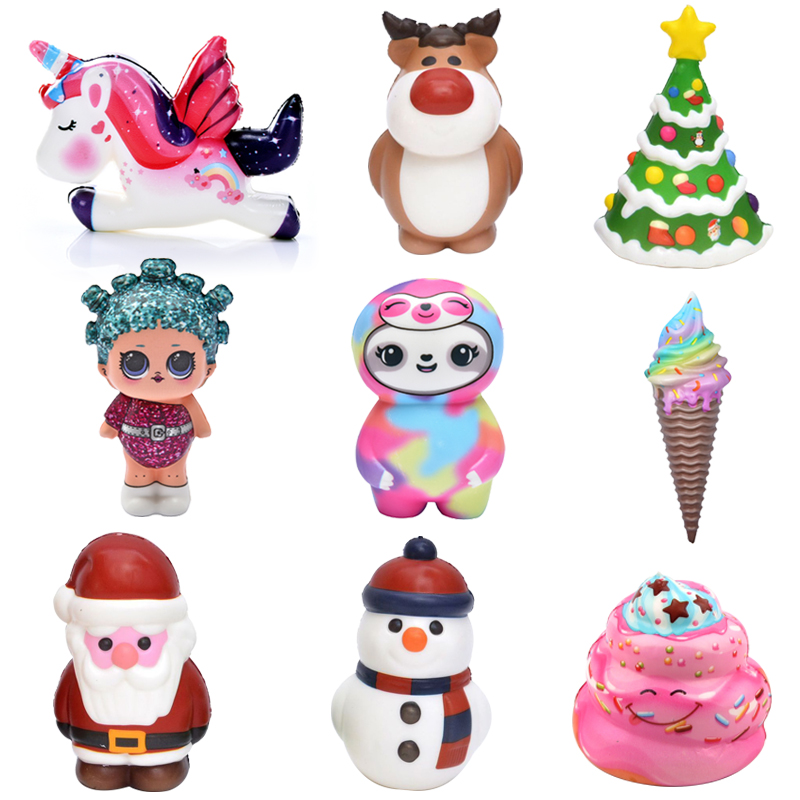 Ice Cream Santa Claus Squishy Slow Rising Soft Squeeze Toy Relief Stress Squshy Unicorn Toys For Kids Xmas Gifts