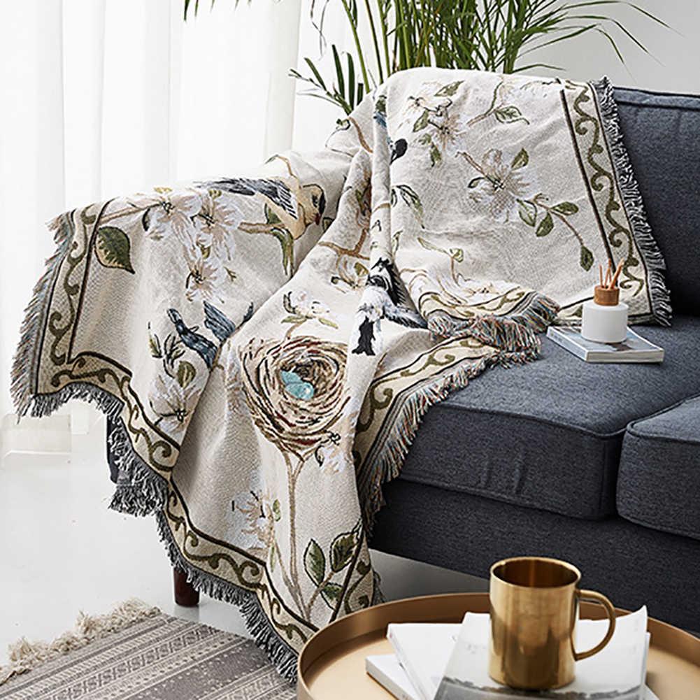 Одеяло с кисточкой, с цветами, с принтом птицы, универсальная хлопковая ткань, ручное вязание, одеяла для кушетки, для кровати, зимняя Манта, плед, cobertor