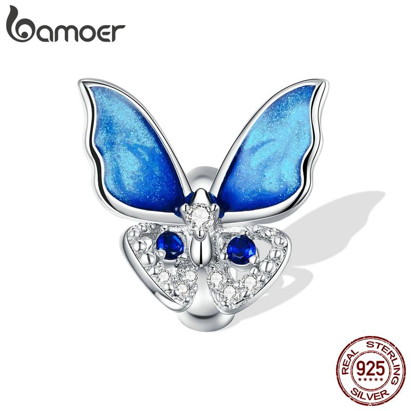 Großer, blau funkelnder Schmetterling, Stopperperle   925 Beads 925 Perlen Beads