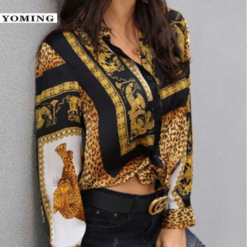 YOMING Spring Women Leopard Print Knot Front Blouse Shirt Office Lady Turn-down Collar Long Sleeve Button Shirt Streetwear