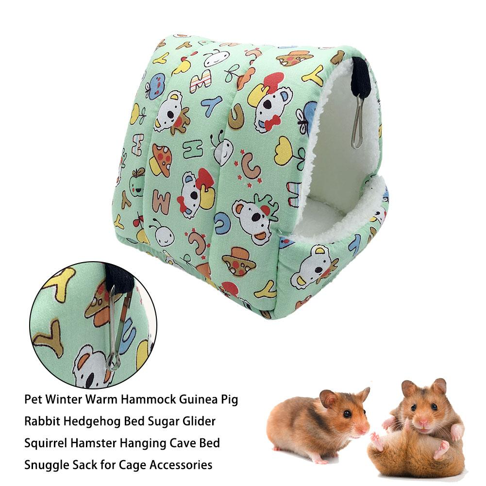 Pet Winter Warm Hammock Guinea Pig Rabbit Hedgehog Bed Sugar Glider Squirrel Hamster Hanging Cave Bed For Cage Accessories