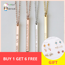 StrollGirl Personalized sterling silver 925 Necklace Custom Engraved Name& Letter Vertical Bar Pendant Fashion Jewelry