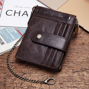 Image 5 - Free Engraving 100% Leather Rfid Wallet Men Crazy Horse Coin Purse Short Male Card Holder Chain PORTFOLIO Portomonee Male Walet