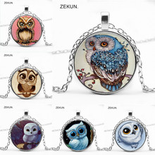 2019 / Hot Cartoon Owl Simple Pattern Pendant Crystal Necklace Men and Women Necklace Holiday Gift cartoon owl pattern infinity scarf