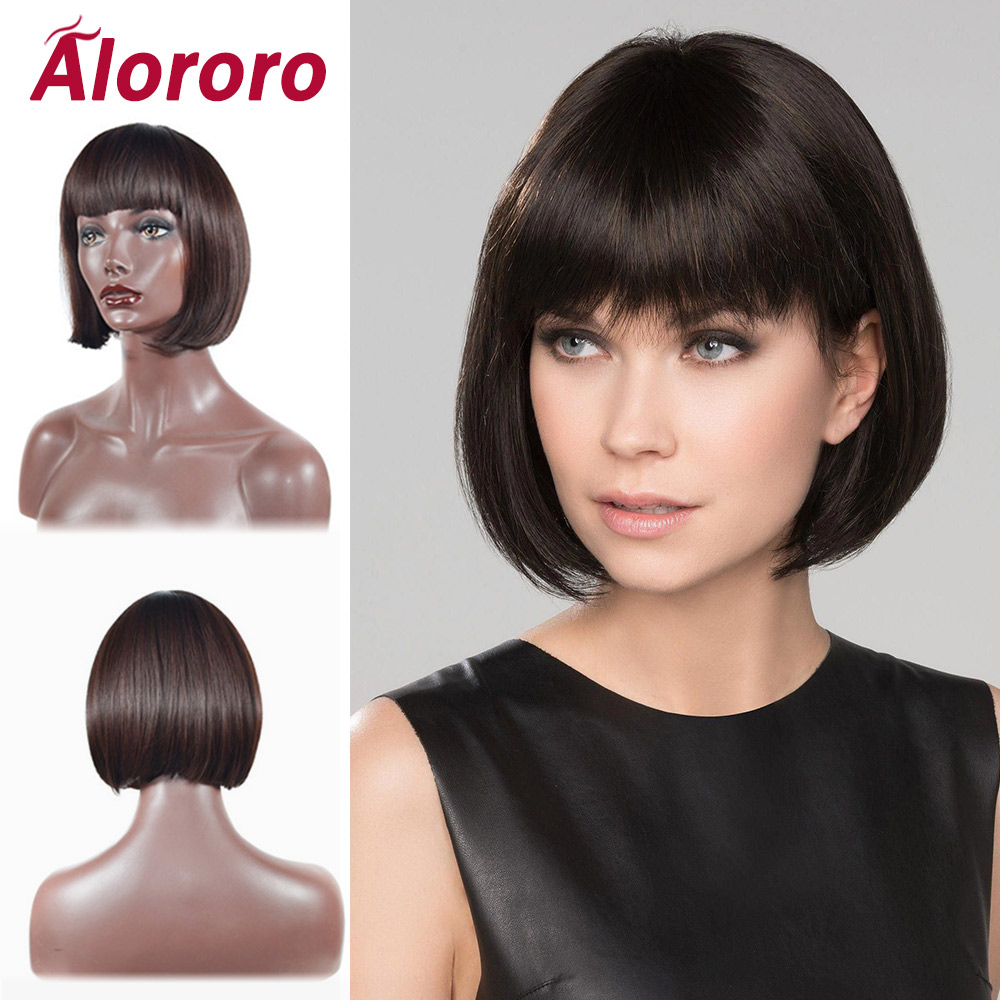 Alororo 10inch Black Hair  Bob Wigs For Women Heat Resistant Fiber Synthetic 3 Colors Optional Natural Blunt Bangs Wigs Female