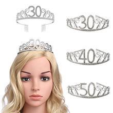 30, 40, 50, вечерние украшения на день рождения, стразы для взрослых, тиара, принцесса, корона, аксессуары для волос, украшение на 30 лет