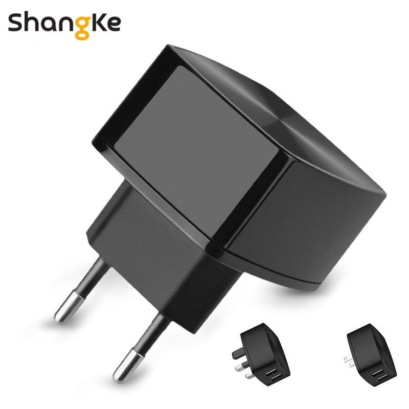 Dual Fast USB Phone Charger 5V 2.4A 2 Port Fast Charging EU US UK Plug Wall Charger Adapter With 2.4A 3-in-1 Quick Charge  Cable