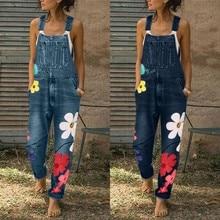 Новые модные женские комбинезоны с принтом, женские свободные повседневные джинсовые комбинезоны с дырками, джинсовые штаны, женские комбинезоны 19Sep3