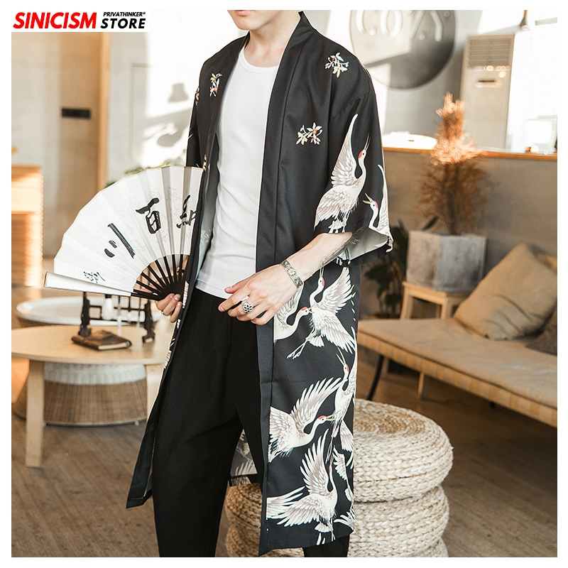 Sinicism Store New Mens Loose Long Kimono Trench Jacket Men Chinese Style Long Trench 2020 Male Spring Printed Coat Thin Clothes