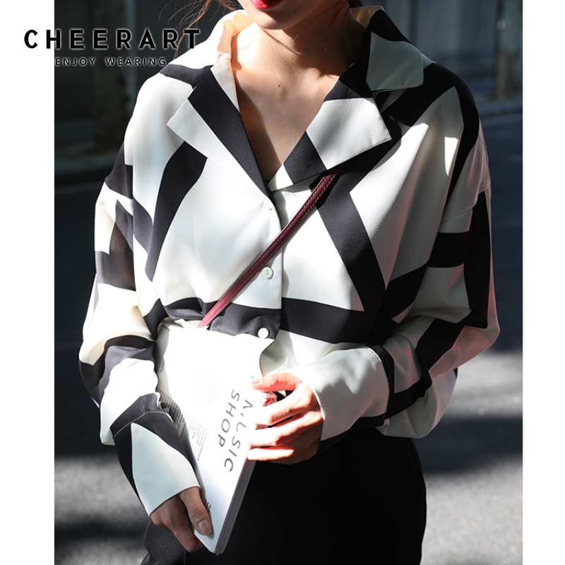 Cheerart Autumn 2019 Women Tops And Blouses Chiffon Long Sleeve Shirt Lapel Black And White Korean Shirt New Arrival