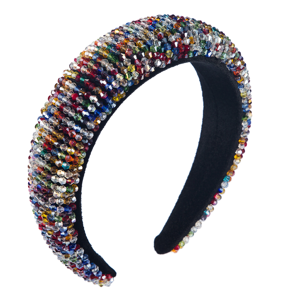 Closeout DealsHeadband Hoop Beaded Crowns Wedding-Tiaras Crystal Wide-Hair Hand-Made Colorful Baroque