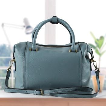 New Style Boston Bag Women's Leather Bags Handbag Full-grain Leather Simple Crossbody Bag
